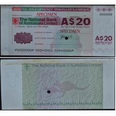 Дорожный чек 20 долларов Австралия, образец - 20 Dollars Australia