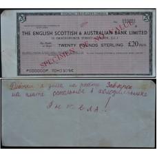 Дорожный чек 20 фунтов Англо-Шотландия, образец - 20 Pounds The English Scottish