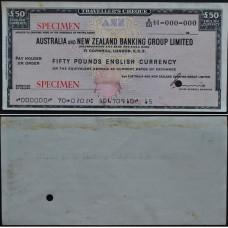 Дорожный чек 50 фунтов Австралия и Новая Зеландия, образец - 50 Pounds Australia and New Zealand