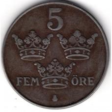 5 эре 1949 Швеция - 5 ore 1949 Sweden, из оборота