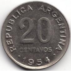 20 сентаво 1954 Аргентина - 20 centavo 1954 Argentina, из оборота