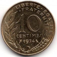 10 сантимов 1974 Франция - 10 centimes 1974 France, из оборота