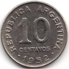 10 сентаво 1952 Аргентина - 10 centavos 1952 Argentina, из оборота