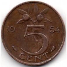 5 центов 1954 Нидерланды - 5 cent 1954 Netherlands, из оборота