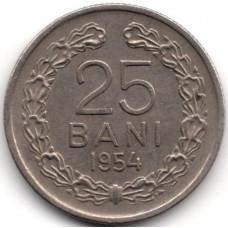 25 бани 1954 Румыния - 25 bani 1954 Romania, из оборота