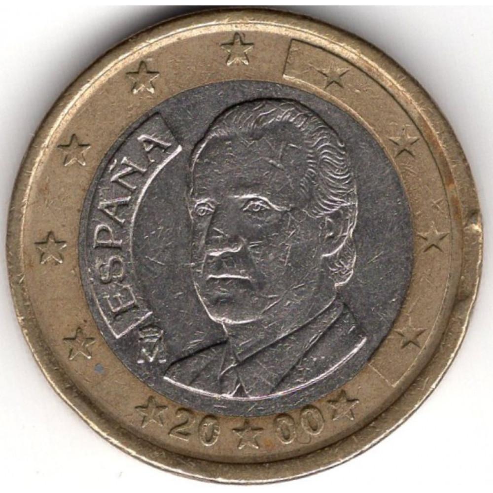 1 евро 2000 Испания - 1 euro 2000 Spain, из оборота
